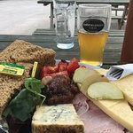 Wow. This ploughman's lunch was a work of art. Stilton and cheddar aplenty.  And the beef and be