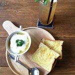 Corn chowder and iced tea