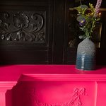 Love the pink fireplace!