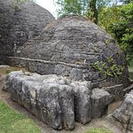 Replica monk dwellings in the garden