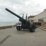 outside the Museum of the Battle of Normandy