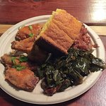 My meal: Wings with special sauce, greens (oh my - these were amazing!), yams and cornbread.