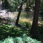 Great view of the creek from the side patio off the Gigi Room.