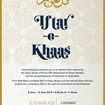 Let's all welcome IFTAR-e-KHAAS at Caraway Kitchen from  Friday, June 8th to Saturday, June 16th