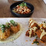 Double Dipped Korean wings, Chilli dusted squid, chorizzo & chicken arancini balls. Yummy