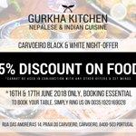 Carvoeiro Black & White Night- Special offer 15% Discount on Food at Gurkha Kitchen Carvoeiro.