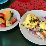 Fruit plate with eggs benny