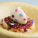 Chevre with lychee, pine nuts and pear sorbet