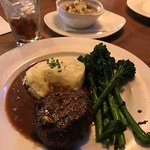 Steak with potatoes two ways and Broccolini