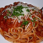 Off menu. Spaghetti with spicy meat sauce.
