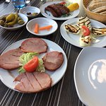 A mixture of starters served in the outdoor dining area
