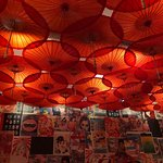 The parasol covered ceiling
