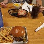 Yummy food and root beer mug