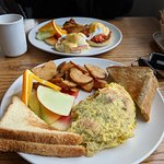 Eggs Benedict and Omelette
