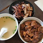 Grilled pork,burdock, soup