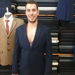Chad's suit jacket fitting at Rubin