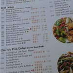 Menu in English and Chinese. Food names: Kong Po, Szechuan Cantonese style, etc.- all Chinese.