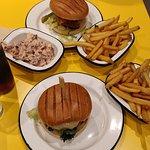 Vegan burgers, salad and fries