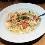 Chicken & Prawn Linguine with a light, creamy garlic sauce