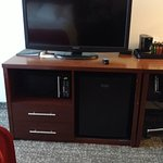 Very nice large TV and great fridge and microwave