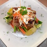 Grilled tuna teriyaki and crusted snapper fillet