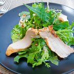 Mixed green salad leaves with sauteed chicken fillets, roasted almonds & cheese sauce
