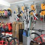 Life jackets, dry buckets, paddles & baby seats