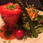 STUFFED CAPSICUM WITH RISOTTO AND ROMA SAUCE