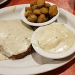 fried okra, mashed potatoes and regular chicken fried steak.