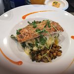 Salmon with Spinach Mashed Potatoes and chickpeas