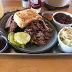2 Meat - Pulled Pork/Brisket, Baked Beans and Cole Slaw