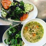 Chicken Soup and gravlax salad