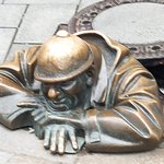 The famous worker coming out of the sewer sculpture. Well worth a picture