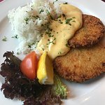 Gemüseschnitzel. Nice to see vegetarian options for more traditional meals.