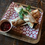 Duck and caramelised onion wraps with cranberry salsa (Dairy free)