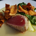 Tonight's fish: seared yellowfin tuna on sunchoke puree. Very nice! Hubby had a burrito