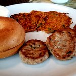 Homemade Chicken Sausage, Bagel & Sweet Potato Hash