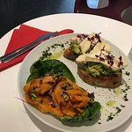 Avocado and brie toast, carrot and pistachio salad