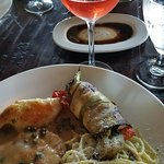 A Pollo Piccata lunch with a glass of Rose --- Fabulous