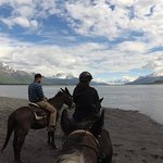 At the Knik River with views of the Glacier