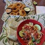 Cuban wrap, salad, & onion rings