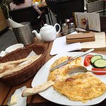 Omelette with cheese and ham plus bread sticks and tea