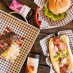 Different selection of meats and local craft beers