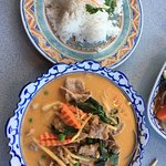 Red curry beef with coconut rice