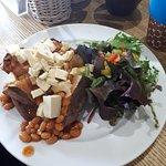 Vegan cheese and beans jacket potato