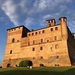 Castello di Grinzane Cavour in the fading springtime sunlight