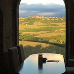 View of Diano d'Alba from the Chef's Table.