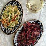 Cabbage salad and beet salad with a terrific local Chardonnay from Samarkand