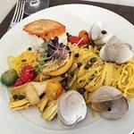 halibut with hand spun pasta