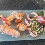 Crevettes décortiquées,noix de St est huile de Homard